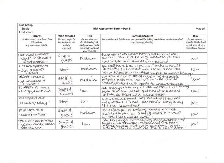 Risk Assessment Forms – Adam's Blog
